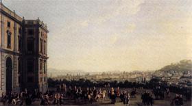 Ferdinando IV sul suo cavallo e la Corte a Capodimonte, da Antonio Joli