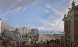 El Cardenal Ruffo recibe a Fernando IV regresando de Sicilia