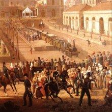 Cerimonia d'inaugurazione della ferrovia Napoli – Portici alla presenza del Re Ferdinando II (particolare), 1839, tempera su carta, Napoli. Salvatore Fergola