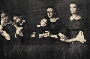 This photograph by Bernoud shows Maria Sofia (second from right) and Ferdinand II's daughters. It was clearly taken soon after the King's death