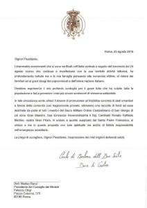 Lettera al Presidente Renzi