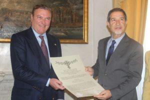 Incontro tra il Principe Carlo di Borbone delle Due Sicilie e l'On. Sebastiano Musumeci Presidente della Regione Siciliana