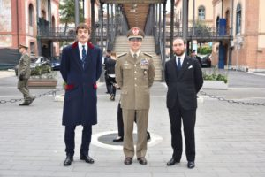 HH Prince Lelio Niccolò Orsini d'Aragona, Delegate of Rome, General Francesco Diella and Count Riccardo Langosco di Langosco dei Conti Palatini di Lomello, Vice Delegate of Rome wait for the Grand Master's arrival