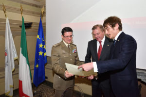 In the presence of HRH the Grand Master, HH Prince Lelio Niccolò Orsini d'Aragona, Delegate of Rome, gives his promotion diploma to General Francesco Diella