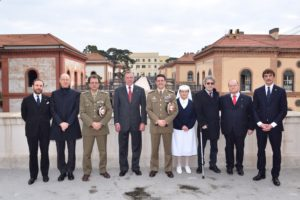 From left: Count Riccardo Langosco di Langosco dei Conti Palatini di Lomello, Dr Giampaolo Grazian, Major General Giacomo Mammana, HRH the Duke of Castro, General Francesco Diella, Dr Antonio Diella, Professor Massimo Barra, H.H. Prince Lelio Niccolò Orsini d'Aragona