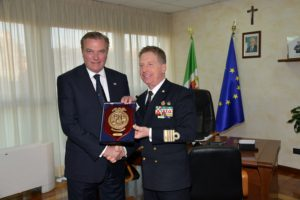 Exchange of gifts between HRH the Duke of Castro and Captain Filippo Marini