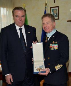 HRH the Duke of Castro gives the decoration to Captain Filippo Marini